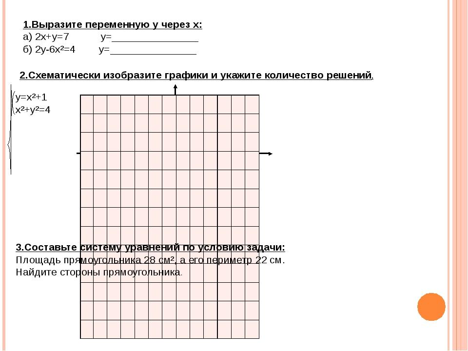 1.Выразите переменную у через х: а) 2х+у=7 у=_______________ б) 2у-6х²=4 у=__...