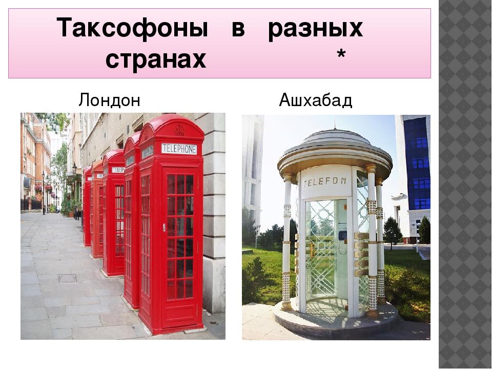 Таксофоны в разных   странах * Лондон Ашхабад