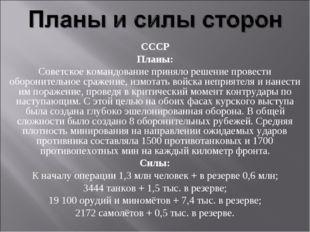 СССР Планы: Советское командование приняло решение провести оборонительное ср