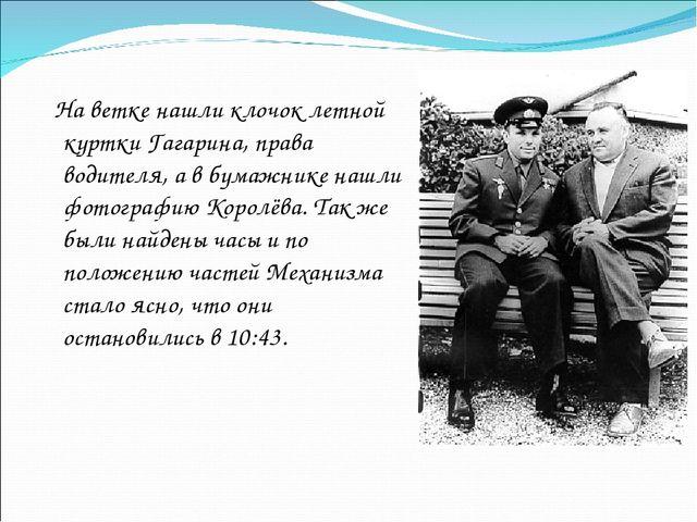 На ветке нашли клочок летной куртки Гагарина, права водителя, а в бумажнике...