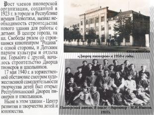 «Дворец пионеров» в 1950-е годы. Пионерский актив. В овале – директор - М.И.И