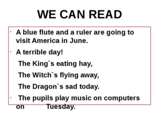 A blue flute and a ruler are going to visit America in June. A terrible day!
