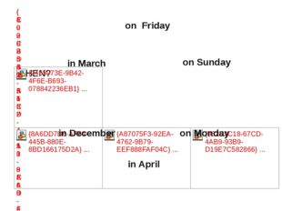 on Friday on Sunday on Monday in April in December in March