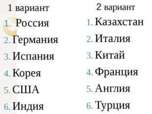 Россия Германия Испания Корея США Индия Казахстан Италия Китай Франция Англи