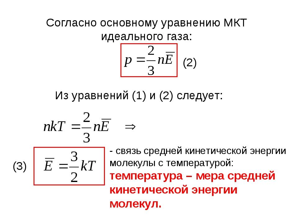 Согласно основному уравнению МКТ идеального газа: (2) Из уравнений (1) и (2)...
