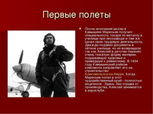 Первые полеты После окончания школы в Камышине Маресьев получил специальность