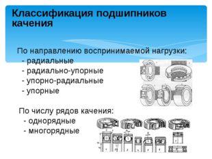 Классификация подшипников качения По направлению воспринимаемой нагрузки: - р