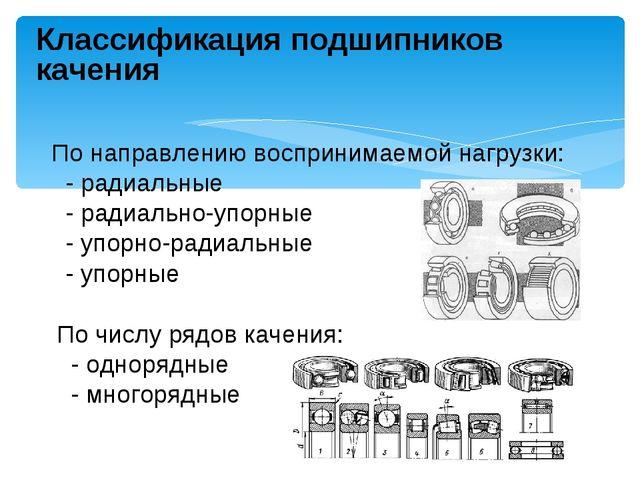 Классификация подшипников качения По направлению воспринимаемой нагрузки: - р...
