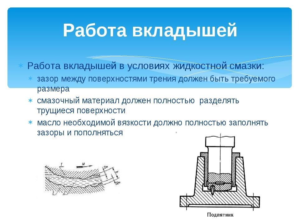 Работа вкладышей в условиях жидкостной смазки: зазор между поверхностями трен...