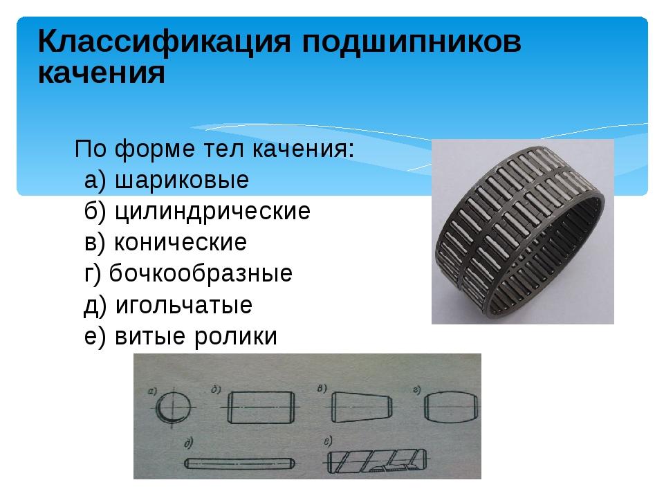 Классификация подшипников качения По форме тел качения: а) шариковые б) цилин...
