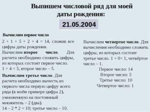 Выпишем числовой ряд для моей даты рождения: Вычислим первое число 2 + 1 +