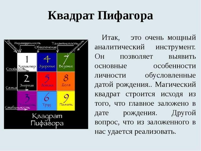 Квадрат Пифагора Итак, это очень мощный аналитический инструмент. Он позволяе...