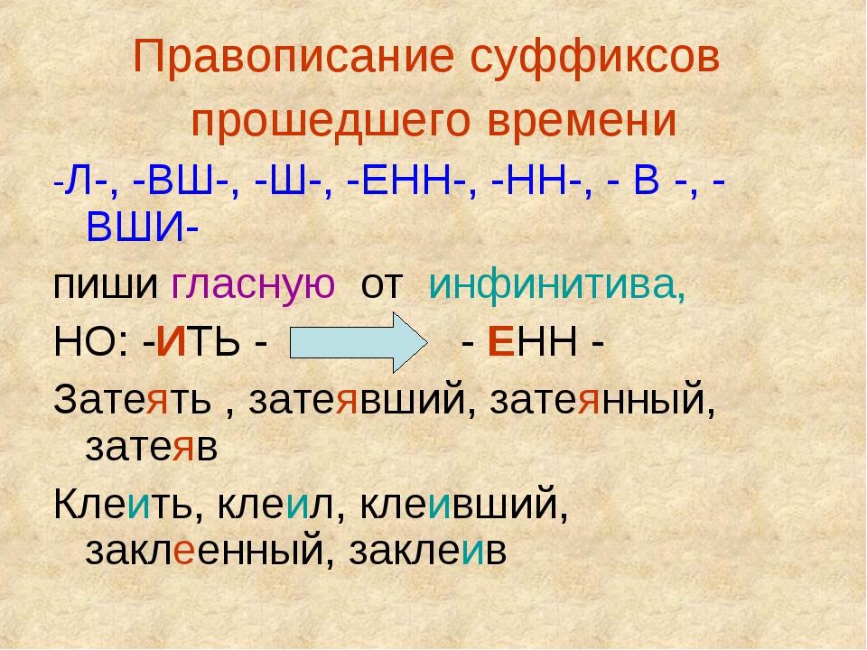 Правописание суффиксов прошедшего времени -Л-, -ВШ-, -Ш-, -ЕНН-, -НН-, - В -,...