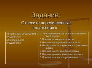 Задание: Отнесите перечисленные положения к: А) причинам образования государс