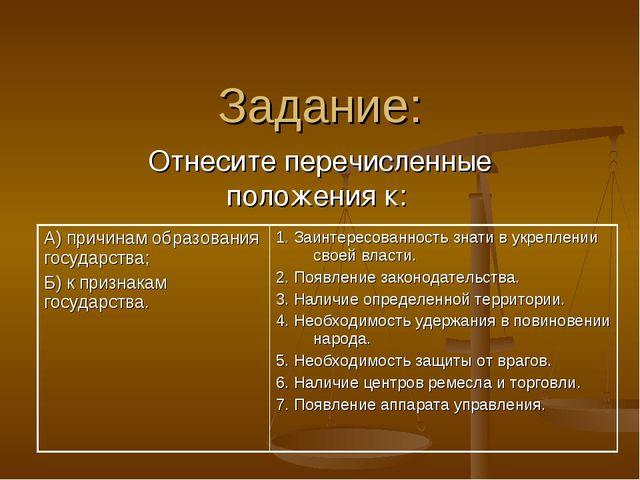 Задание: Отнесите перечисленные положения к: А) причинам образования государс...
