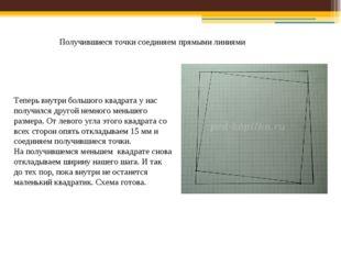 Получившиеся точки соединяем прямыми линиями Теперь внутри большого квадрата