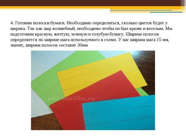 4. Готовим полоски бумаги. Необходимо определиться, сколько цветов будет у ша...