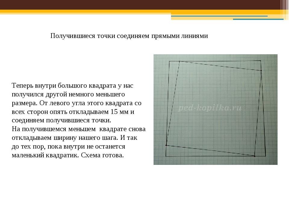 Получившиеся точки соединяем прямыми линиями Теперь внутри большого квадрата...