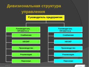 Дивизиональная структура управления * *
