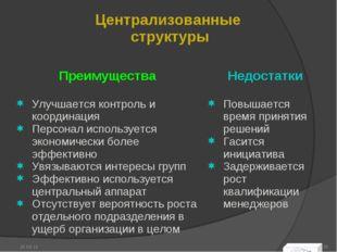 * * Централизованные структуры  Преимущества Улучшается контроль и координац