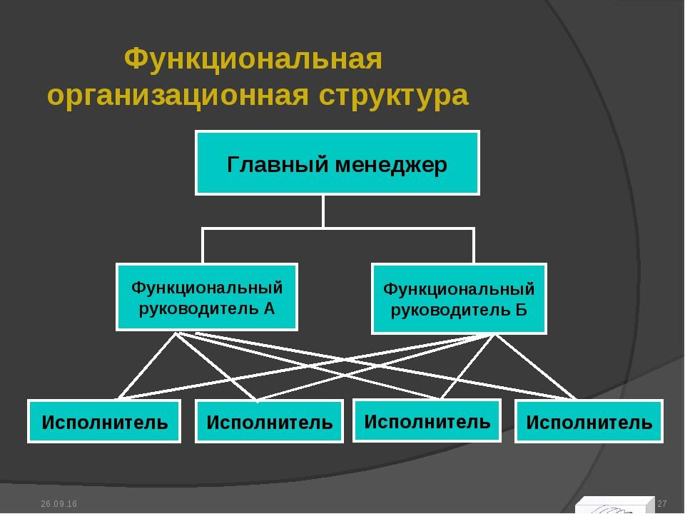 Функциональная организационная структура * *