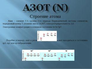 Строение атома Азот – элемент VА группы 2-го периода Периодической системы эл