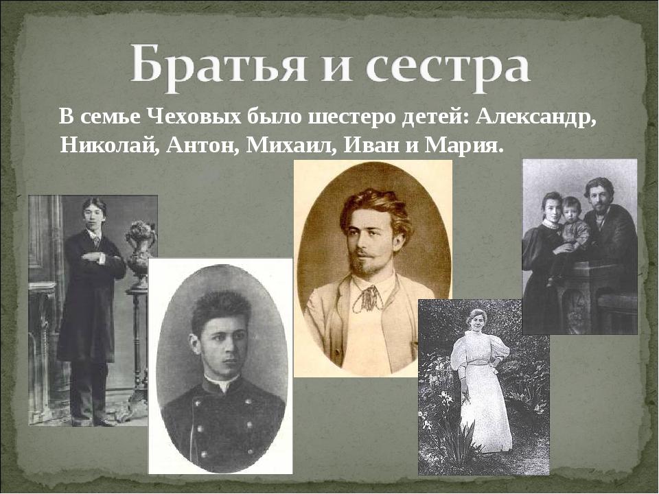 В семье Чеховых было шестеро детей: Александр, Николай, Антон, Михаил, Иван...