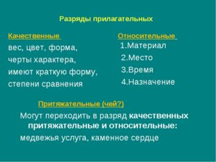 Разряды прилагательных Относительные 1.Материал 2.Место 3.Время 4.Назначение