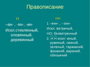 Правописание Н –ан- , -ян-, -ин- Искл.стеклянный, оловянный, деревянный НН 1