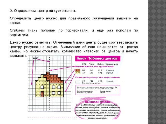 2. Определяем центр на куске канвы. Определить центр нужно для правильного р...