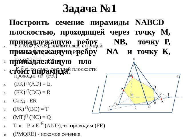 Задача №1 Построить сечение пирамиды NABCD плоскостью, проходящей через точку...