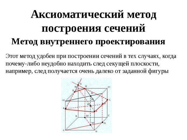 Аксиоматический метод построения сечений Метод внутреннего проектирования  Э...