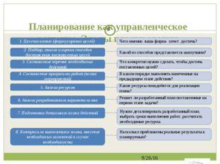 Планирование как управленческое решение. Этапы планирования 1. Целеполагание