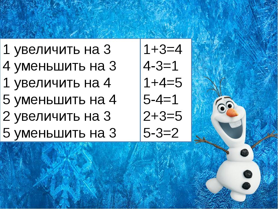 1 увеличить на 3 4 уменьшить на 3 1 увеличить на 4 5 уменьшить на 4 2 увелич...