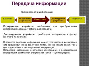 Передача информации Схема передачи информации Кодирующее устройство необходим