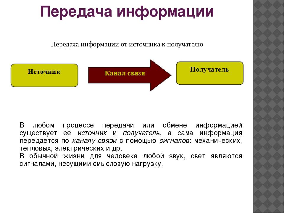 Передача информации Передача информации от источника к получателю В любом про...