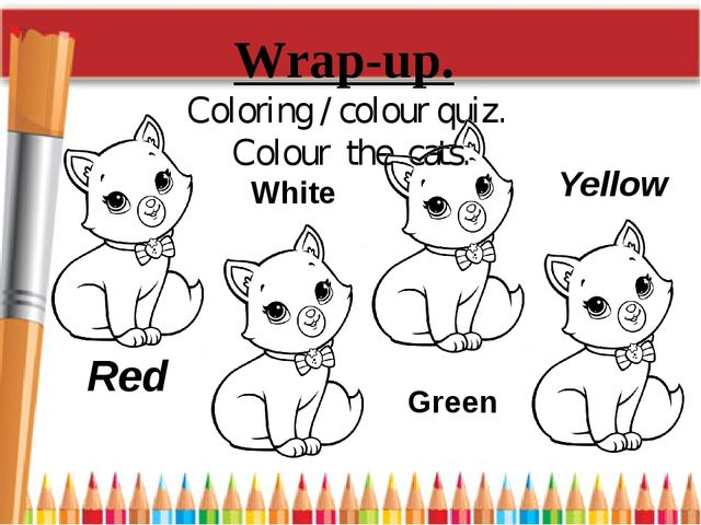 Wrap-up. Coloring / colour quiz. Colour the cats. Red Yellow White Green