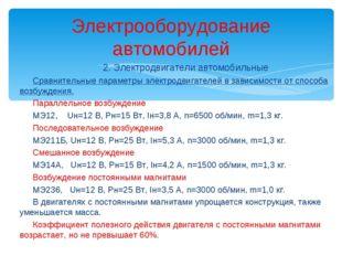 2. Электродвигатели автомобильные Сравнительные параметры электродвигателей в