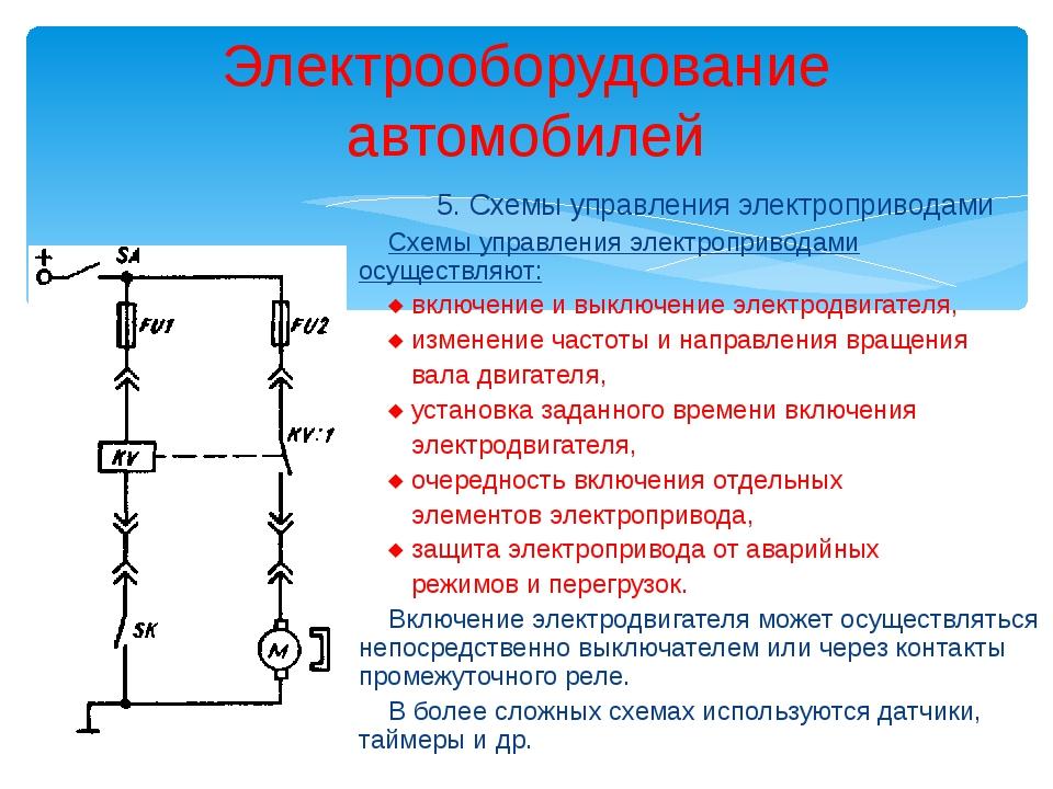 Электрооборудование автомобилей 5. Схемы управления электроприводами Схемы уп...