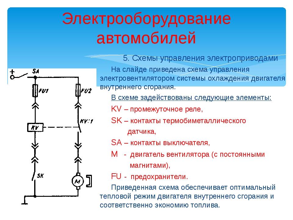 Электрооборудование автомобилей 5. Схемы управления электроприводами На слайд...