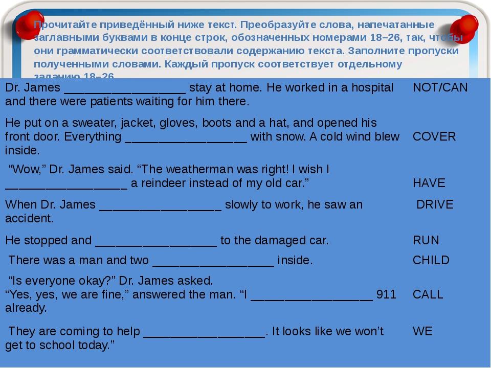 Прочитайте приведённый ниже текст. Преобразуйте слова, напечатанные заглавным...
