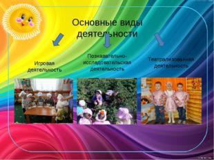 Основные виды деятельности Игровая деятельность Театрализованная деятельность