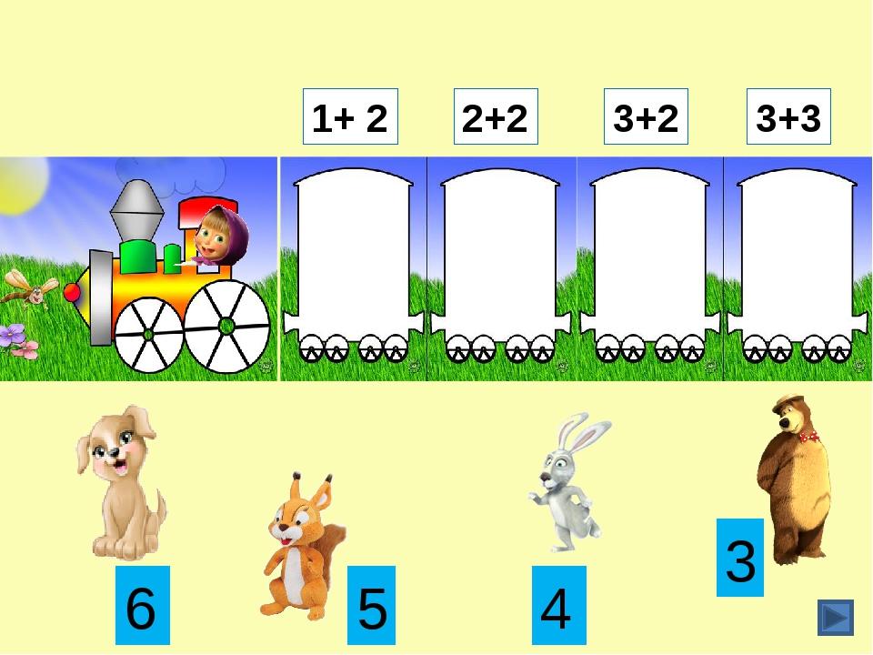 2+2 1+ 2 3+3 3+2 3 6 4 5 Щёлкаем по рамке с ответом. Коллекция дидактических...