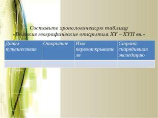 Составьте хронологическую таблицу «Великие географические открытия XY – XYII