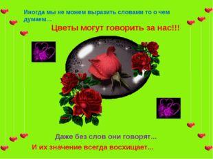 Иногда мы не можем выразить словами то о чем думаем… Цветы могут говорить за