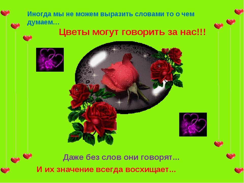 Иногда мы не можем выразить словами то о чем думаем… Цветы могут говорить за...