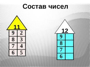 Состав чисел 11 12 9 2 8 3 7 4 6 5 9 8 7 6