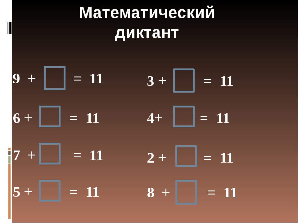 Математический диктант 9 + = 11 6 + = 11 7 + = 11 5 + = 11 3 + = 11 8 + = 11...