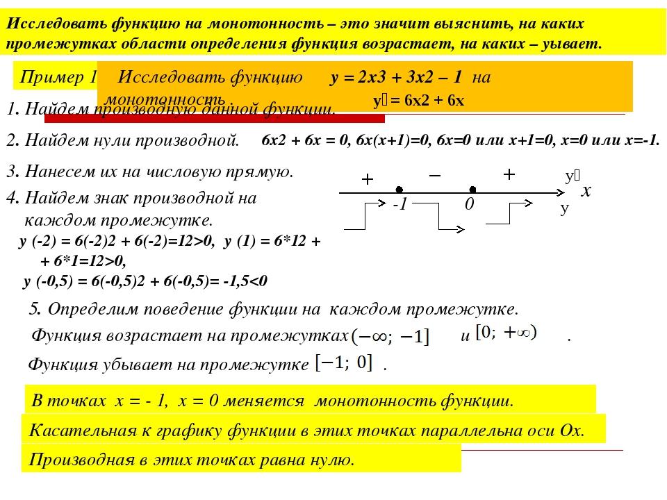 Исследовать функцию на монотонность – это значит выяснить, на каких промежутк...