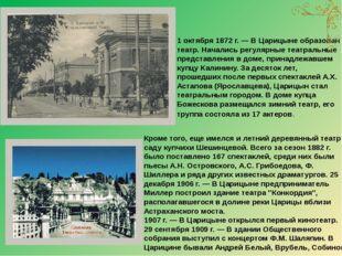 Кроме того, еще имелся и летний деревянный театр в саду купчихи Шешинцевой. В